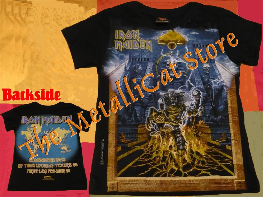 T-SHIRT IRON MAIDEN Somewhere Back in Time - World Tour 2008 CD SIZE S for GIRLS