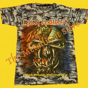 T-SHIRT IRON MAIDEN Final Frontier STRETCH CAMOUFLAGE HEAVY METAL CD SIZE S