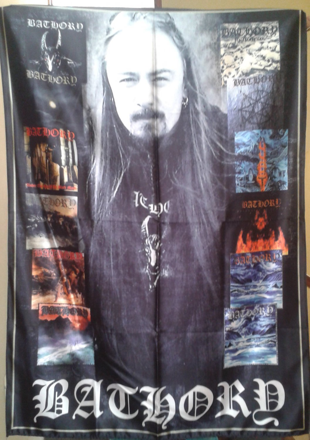 BATHORY Albums & Quorthon FLAG CLOTH POSTER WALL TAPESTRY BANNER CD Black Metal