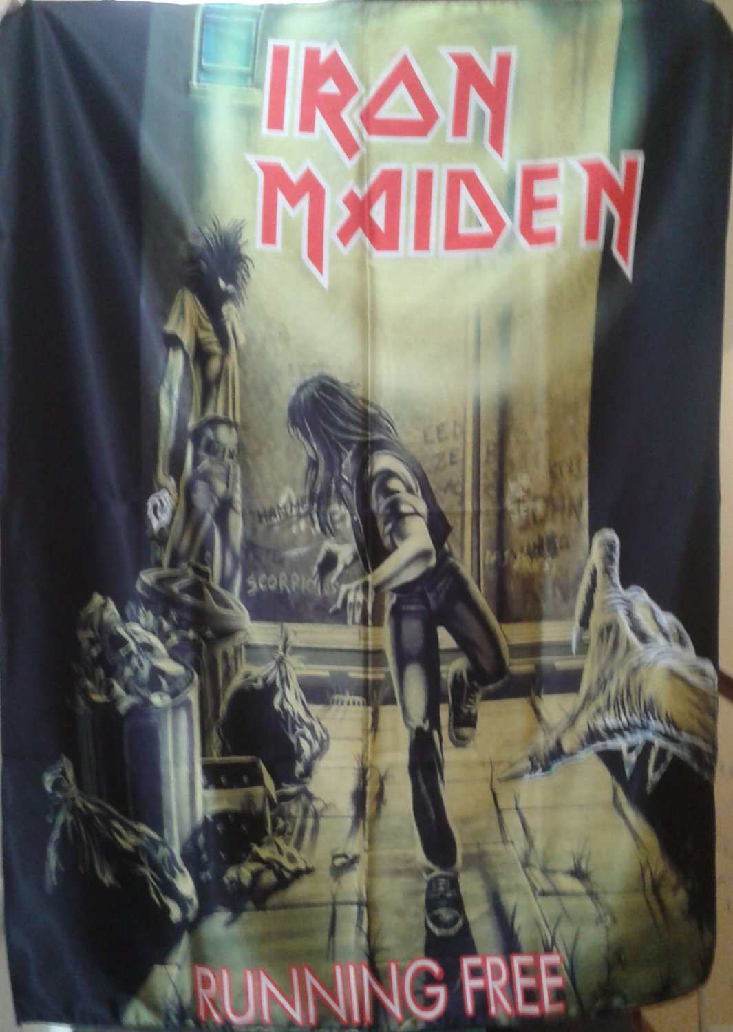 IRON MAIDEN Running Free FLAG CLOTH POSTER WALL TAPESTRY BANNER CD LP