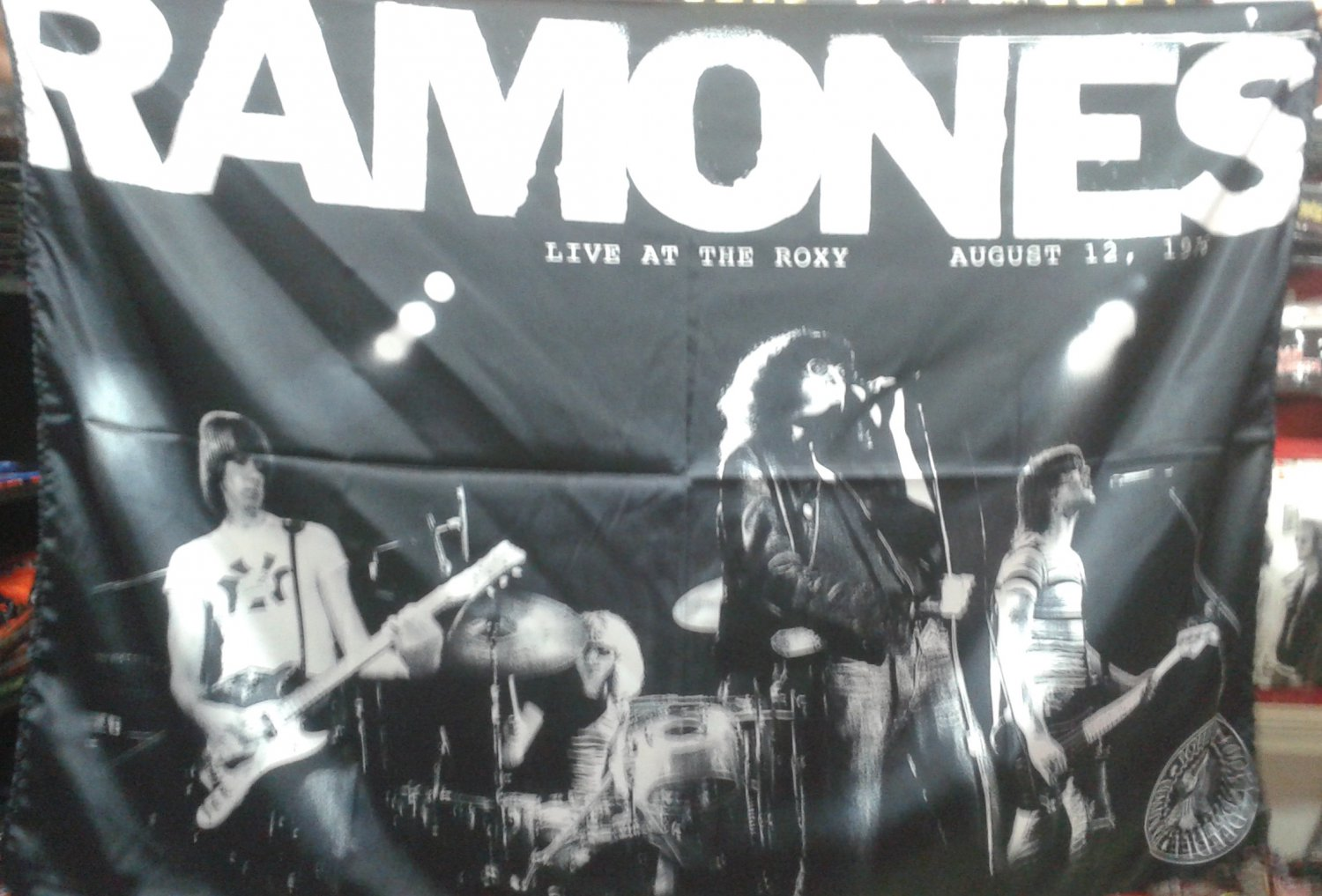 RAMONES Live at The Roxy FLAG CLOTH POSTER WALL TAPESTRY BANNER CD Punk