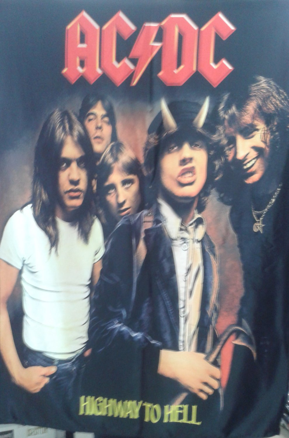 AC/DC Highway to Hell FLAG CLOTH POSTER WALL TAPESTRY BANNER CD Angus Young HEAVY METAL
