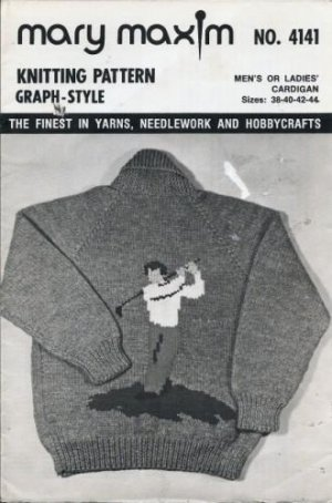 Mary Maxim No. 4141 Graph Style Knitting Pattern Unisex Golfer