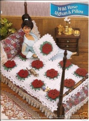Annies Attic Crochet Patterns : Annies Attic:Wild Rose Afghan and Pillow Crochet Pattern for Barbie