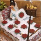 Annies Attic:Wild Rose Afghan and Pillow Crochet Pattern for Barbie