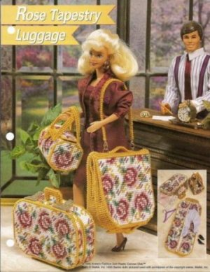 annies attic barbie size rose tapestry luggage plastic
