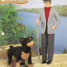 Annies Attic Pattern Ken Doll Hiking Suit and Dog Crochet Pattern