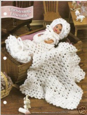 Annies Attic Crochet Patterns : Annies Attic Crochet Pattern :4 1/2 inch Doll Christening Ensemble ...