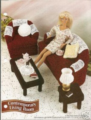 Barbie Doll Size Crochet Living Room, Sofa, Chair, Lamp,Tables & More