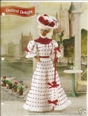 Annie's Attic:Dotted Delight Red White Beaded Barbie Doll Gown Hat Crochet Pattern