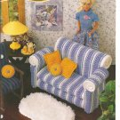 Annie's Attic, Casual Comfort , Couch, Rug and Pillows for barbie Size Dolls