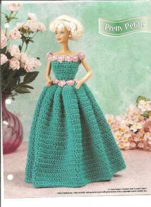 Annies Attic, Pretty Petals Barbie Doll Size Gown Crochet Pattern