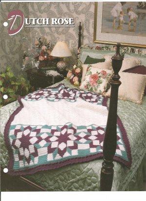 Annies Attic, Dutch Rose Crochet Afghan Pattern