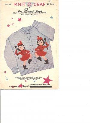 Knit O Graf 207 Girls Majorette Graph Style Cardigan or Slipover Knittin...