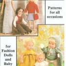 Mary Maxim Doll Clothes Knitting Patterns for Fashion Dolls and Baby Dolls