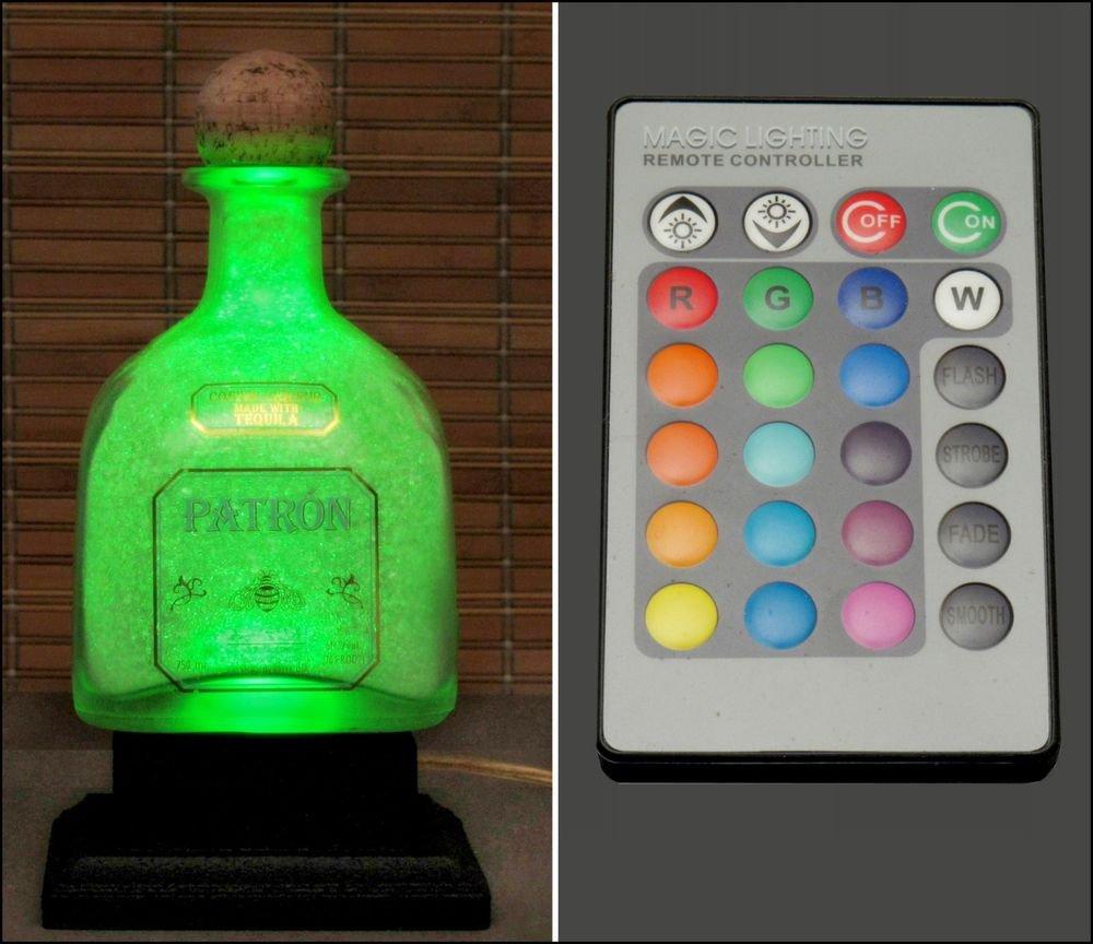 Patron Tequila 16 Color Change Remote Control Bottle Lamp Light LED Man Cave