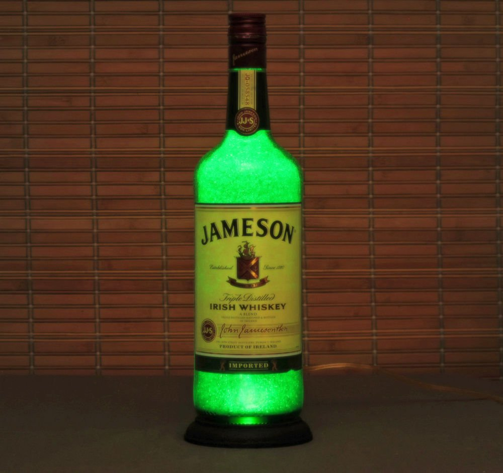 Jameson Irish Whiskey 1 Liter LED Bottle Lamp Night Light Bar Sign Emerald Glow
