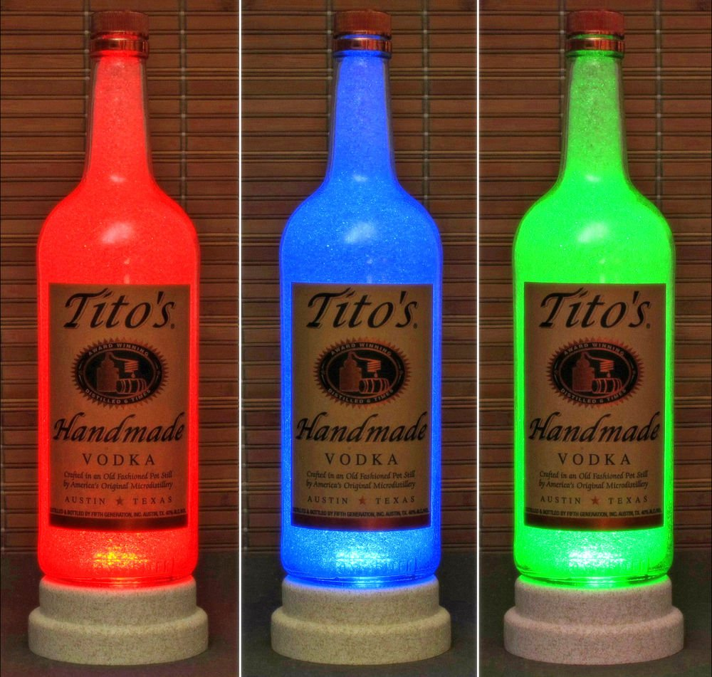 Texas Vodka Tito's 1 Liter Bar Decor Man Cave Lighting RGB LED Changing Colors