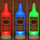 Texas Vodka Tito's 1 Liter Bar Decor Man Cave Lighting RGB LED Changing Colors