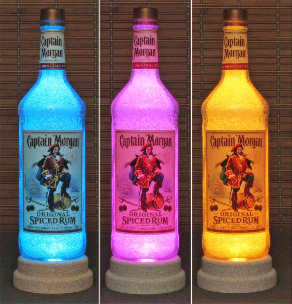 Color Changing Remote Control Captain Morgan Rum 1 Liter LED  Bottle Lamp Light