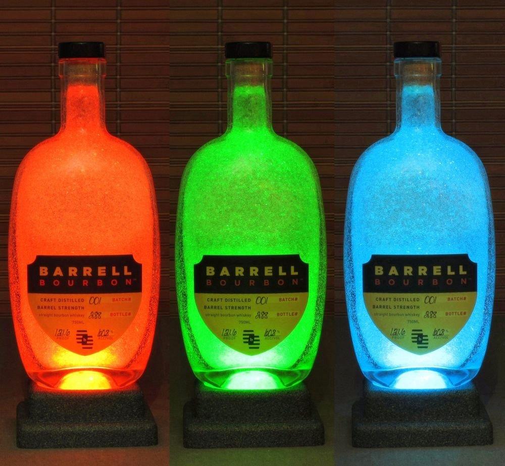 Barrell Bourbon Color Changing Remote Control Bottle Lamp Bar Accent Light Pub