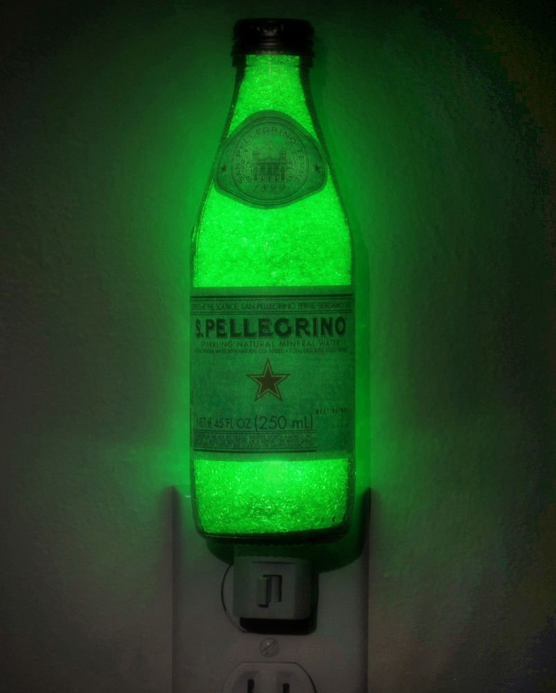 San Pellegrino Night Light Bottle LED Lamp Bar Man Cave Kitchen Italy Man Cave