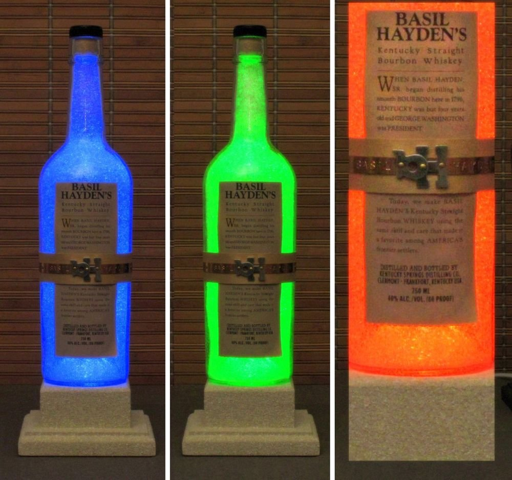 Basil Hayden Whiskey Remote Control Color Change LED Bottle Lamp Light Man Cave