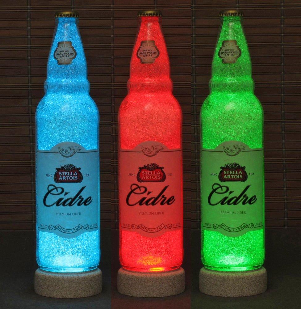 Stella Artois Cidre Cider 24oz Remote Controlled Color Changing LED Bottle Lamp