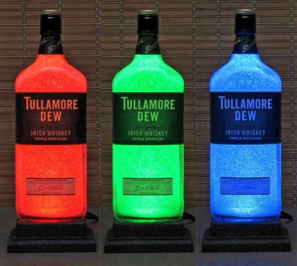 Tullamore Dew Irish Whiskey Remote Control Color Change Bottle Lamp Bar Light