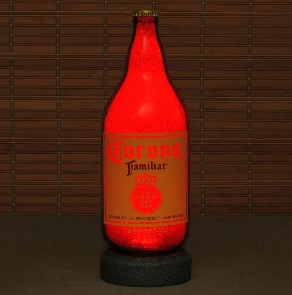 Corona Familiar 1 Quart Beer Bottle Lamp Night Light Bar Man Cave Ruby Red Glow