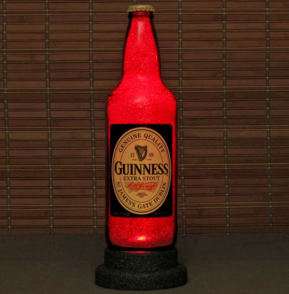 Guinness Stout Beer Bottle Lamp Night Light Bar Pub Man Cave Ruby Red Glow 22oz