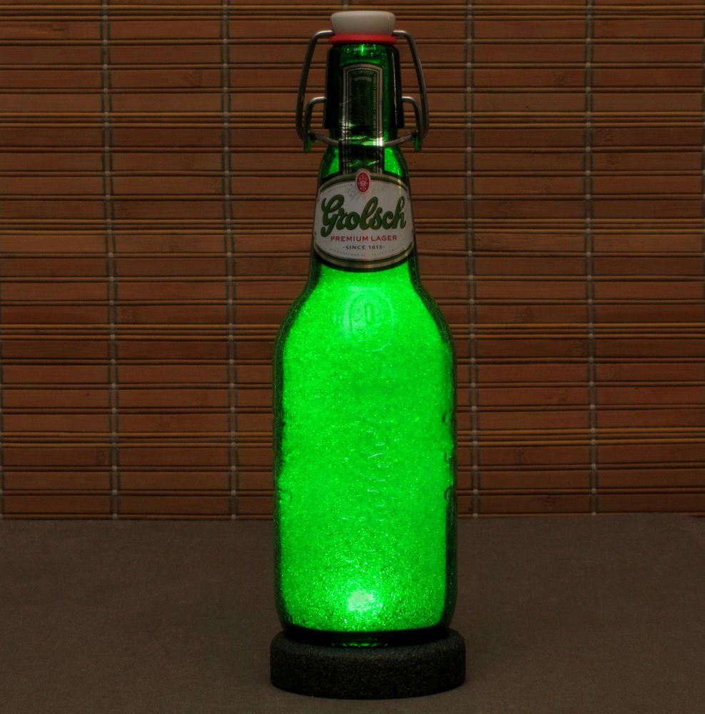 Grolsch Lager LED Beer Bottle Lamp 16 oz Night Light Bar Man Cave Pub Holland