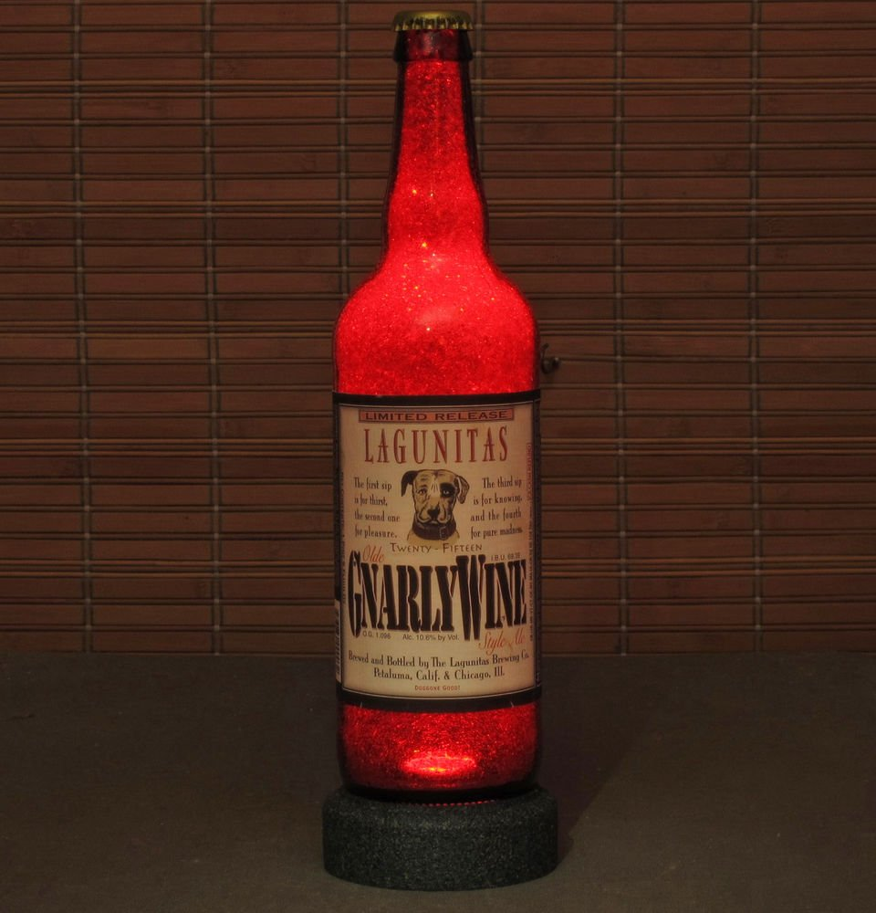 Lagunitas Gnarly Wine Ale Beer Bottle Lamp Night Light Bar Man Cave Ruby Red