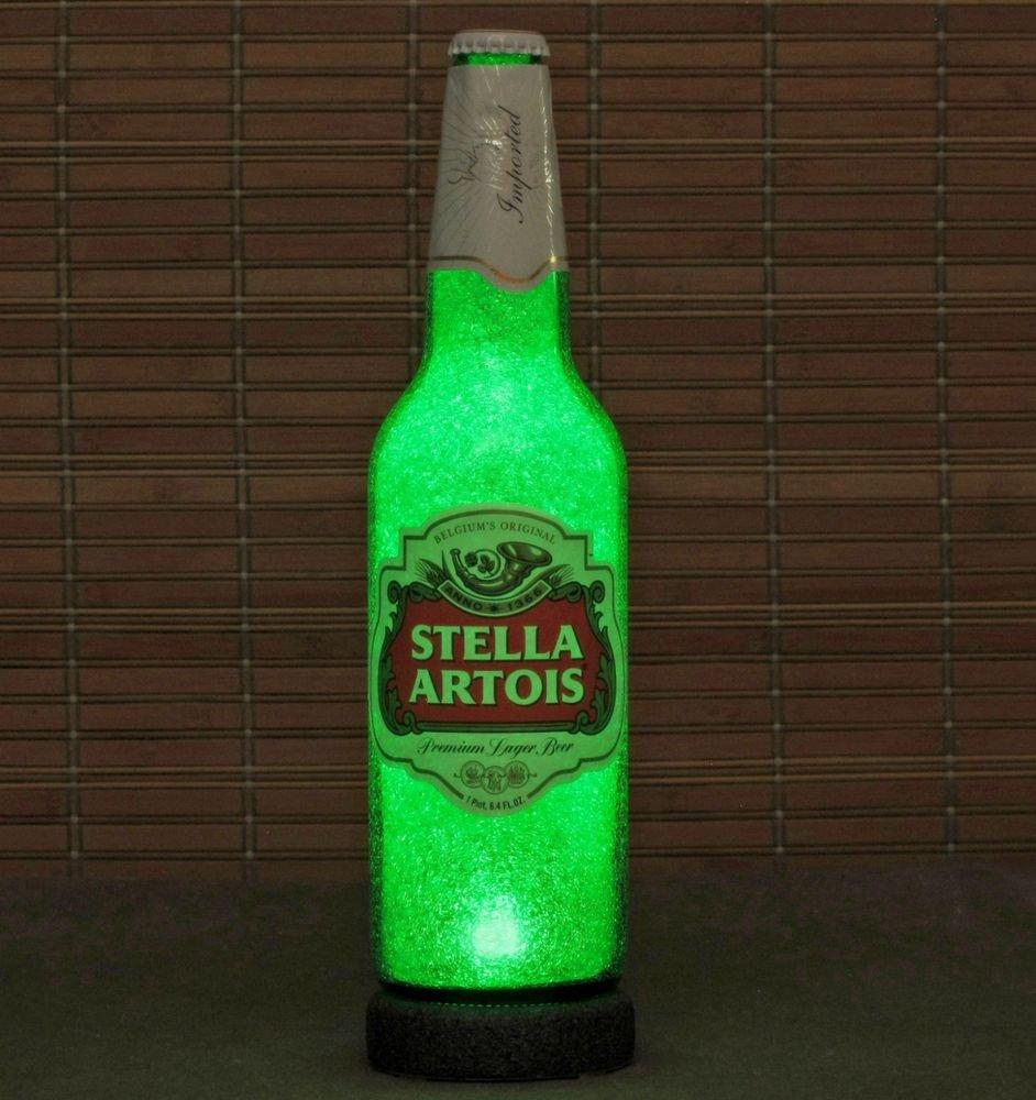 Stella Artois LED Beer Bottle Lamp 24oz Light Bar Man Cave Emerald Green Glow