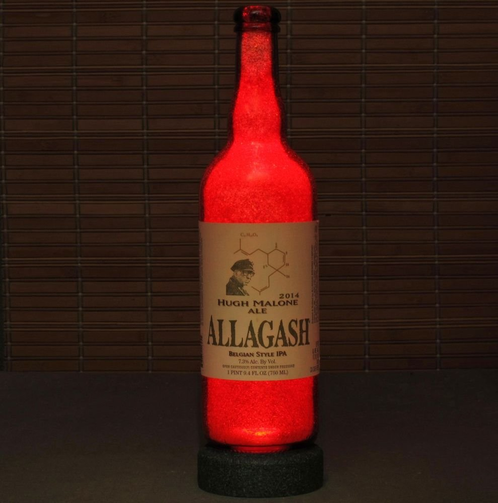 Allagash Craft Beer Hugh Malone Ale LED Bottle Lamp Night Light Bar Man Cave IPA
