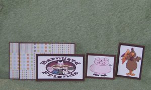 Barnyard Friends Pig & Rooster-5pc Mat Set