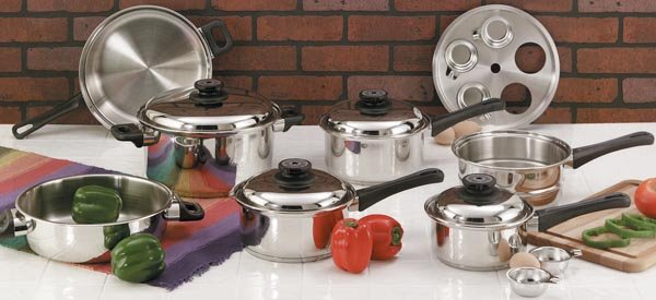 "KT17 Maxam 9 Element Steam Control 17pc Surgical Stainless Steel ""Waterless"" Cookware Set"