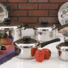 """KT17 Maxam 9 Element Steam Control 17pc Surgical Stainless Steel """"Waterless"""" Cookware Set"""
