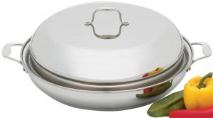 """KTPP38 - Precise Heat 15"""" Stainless Steel Casserole Pan and Cover"""