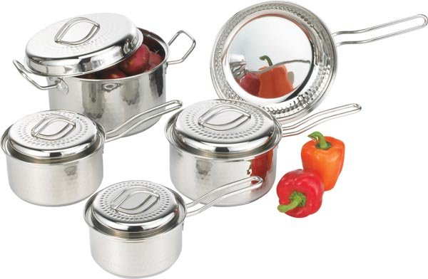 KTSSCW9 - Chefs Secret 9pc 18/10 Stainless Steel Cookware with Hammered Texture