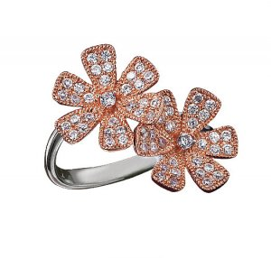 Size 6: Sterling Silver CZ Flower Cocktail Ring - Avon