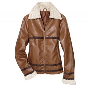 Small: Faux Leather Aviator Jacket with Faux Shearling - Avon