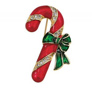 Holiday Motif Candy Cane Pin - Avon