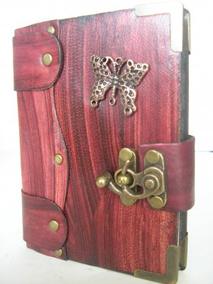 Mini Leather Bound Authentic Handmade Blank Journal Notebook With ButterflyEmblem
