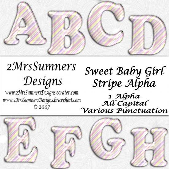 Sweet Baby Girl Striped Alpha
