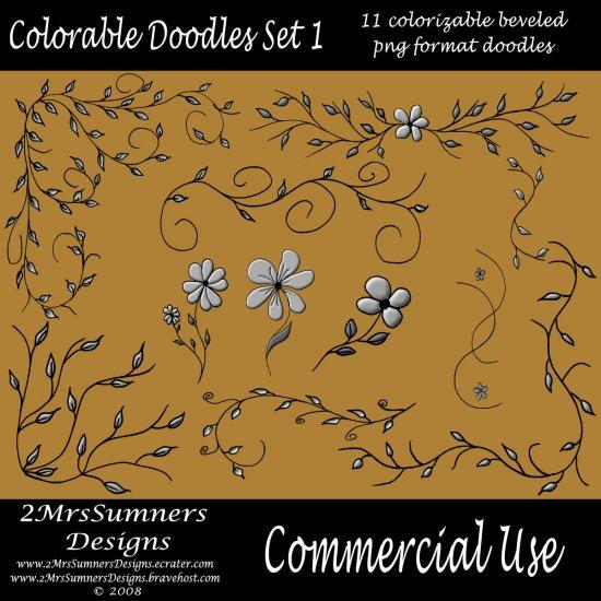 Colorizable Doodle Set 1