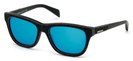 DIESEL DL0111 01X   - shiny black  / blu mirror Plastic