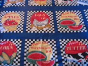 Country Farm Primitive Fruit Cows Hen Fabric panels
