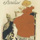 7 1/2 x 10 French Poster  Girl with Cats Cotton Twill Fabric block