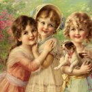 8 x 10  3 Cute Victorian Girls with Puppy Cotton Fabric  Quilt Block